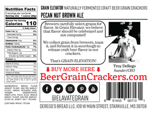 Pecan Nut Brown Ale - naturally fermented beer grain crackers back label
