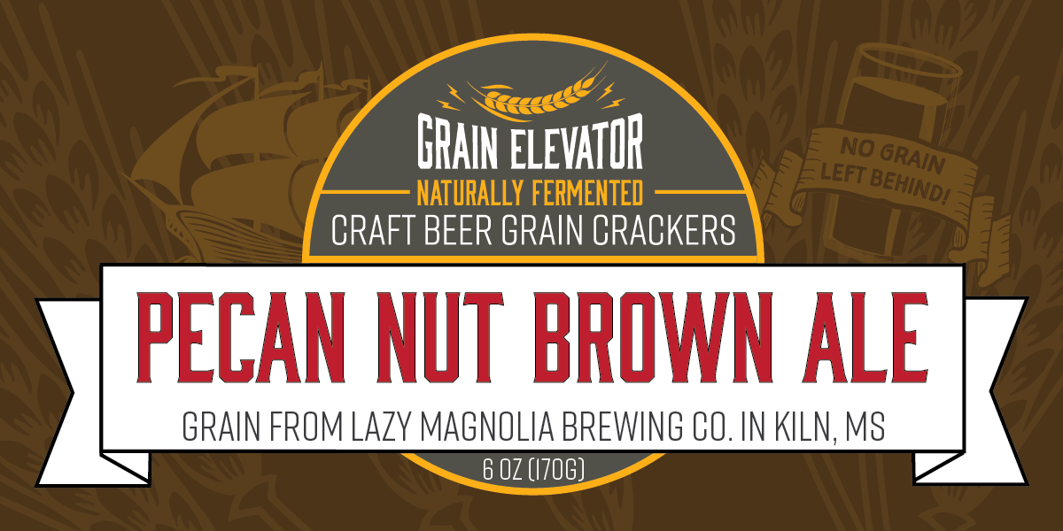 Pecan Nut Brown Ale - naturally fermented beer grain crackers front label