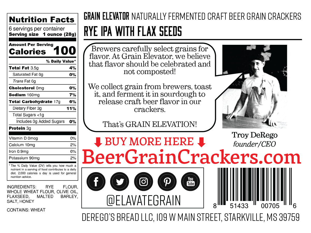 Rye IPA with Flax Seeds - naturally fermented beer grain crackers back label