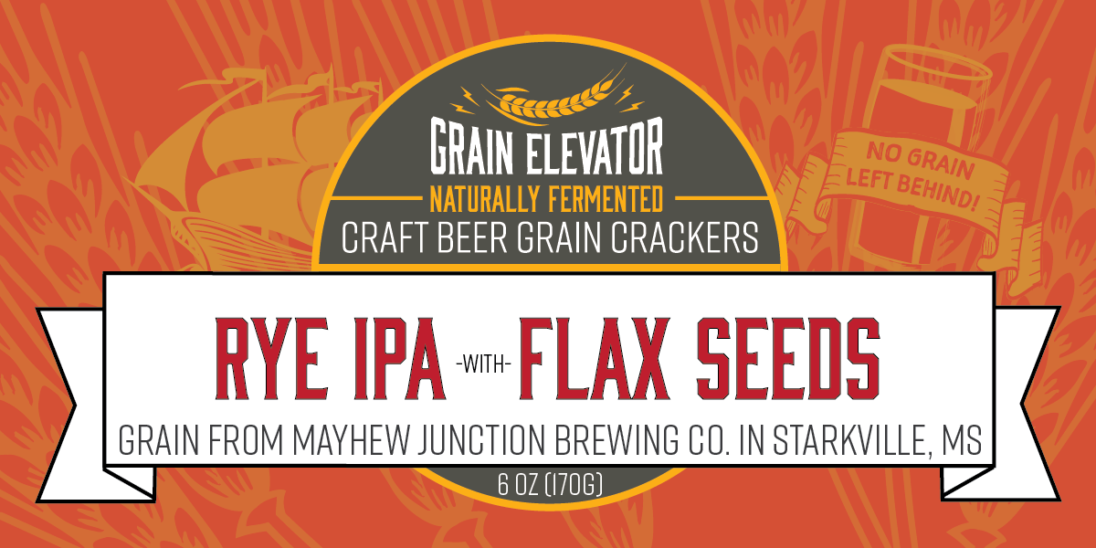 Rye IPA with Flax Seeds - naturally fermented beer grain crackers front label