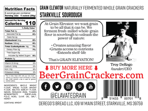 Starkville Sourdough - naturally fermented whole grain crackers back label