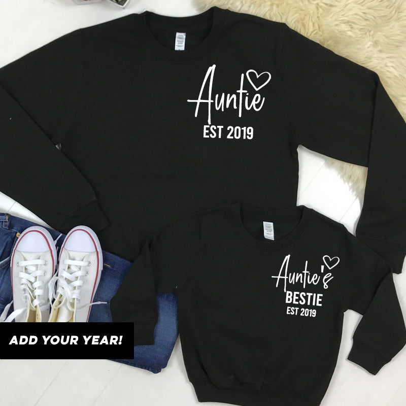 Personalised Auntie and Auntie's Bestie Mini Logo Black Sweatshirts (MRK X)