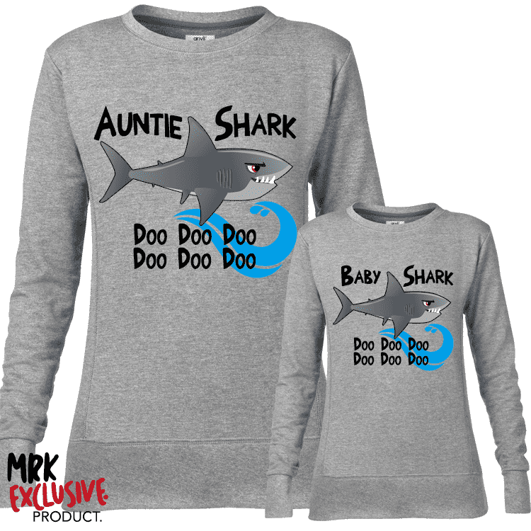 Auntie and Baby Shark Matching Crew Sweats - Grey (MRK X)