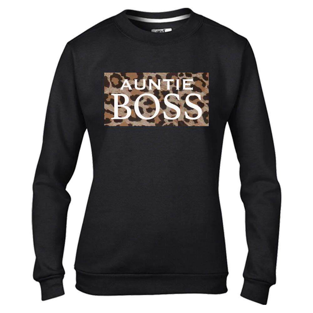 Auntie & Mini Boss Leopard Slogan Black Sweaters (MRK X)