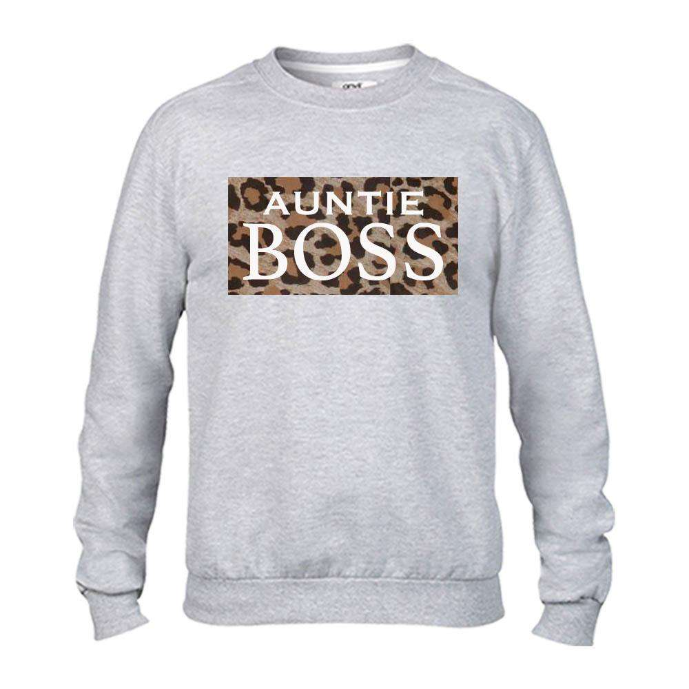 Auntie & Mini Boss Leopard Slogan Grey Sweaters (MRK X)
