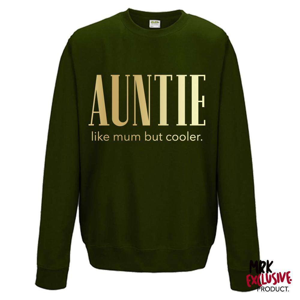 Auntie (Cooler than Mum) Ladies Forest Green/Gold Sweater (MRK X)