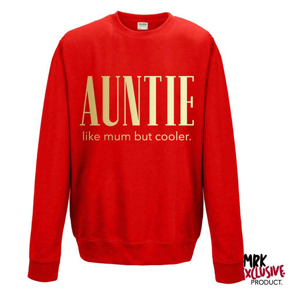 Auntie (Cooler than Mum) Ladies Red/Gold Sweater (MRK X)