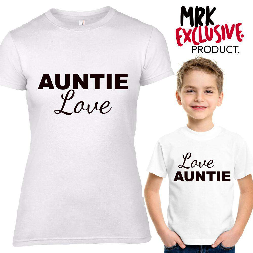 Auntie Love/Love Auntie Adult & Kid Matching White Tees (MRK X)