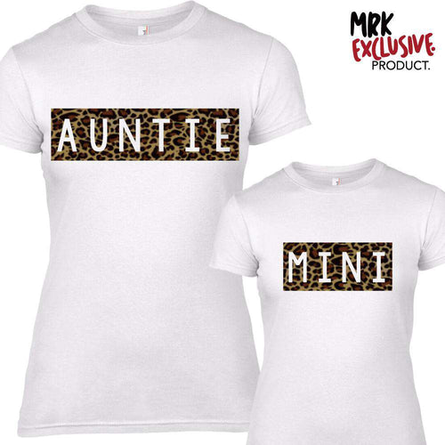 Auntie & Mini Leopard Print Matching White Tees (MRK X)