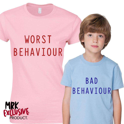 Bad Behaviour Adult & Kid Pink/Blue Matching Tees (MRK X)