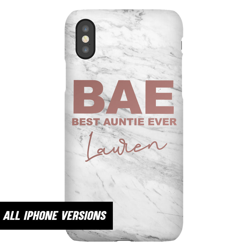 Personalised BAE Best Auntie Ever Iphone Snap Phone Case (MRK X)