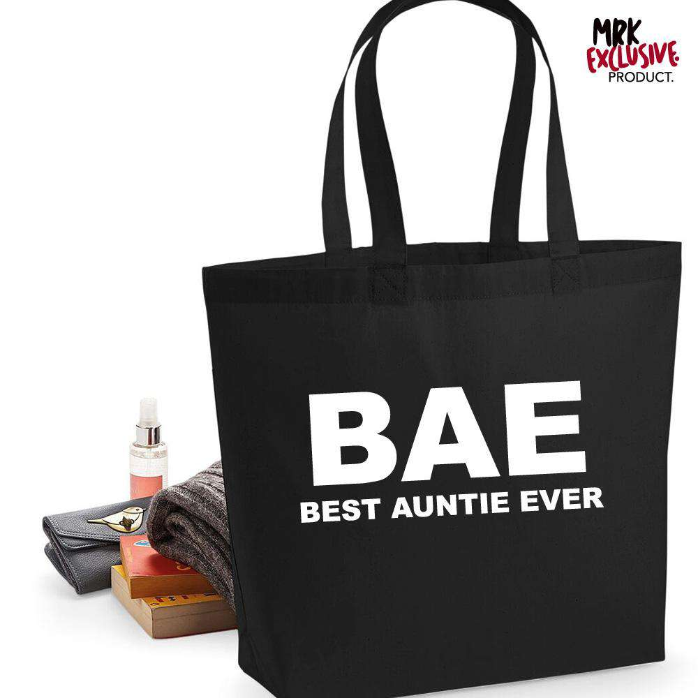 BAE (Best Auntie Ever) Black Tote Bag (MRK X)