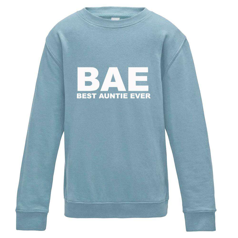 BAE (Best Auntie Ever) Sky Blue Crew Sweater (MRK X)