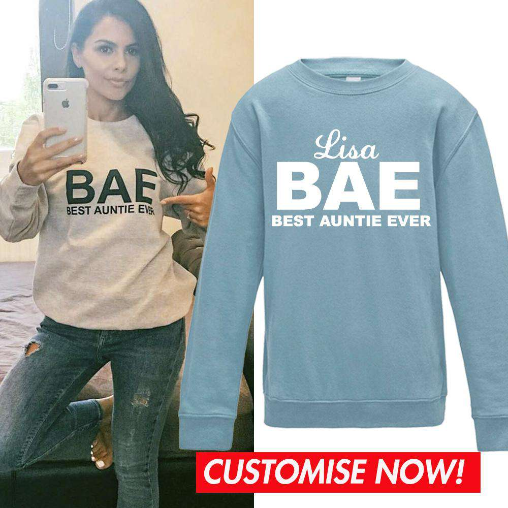 Personalised BAE (Best Auntie Ever) Pastel Blue Sweater (MRK X)