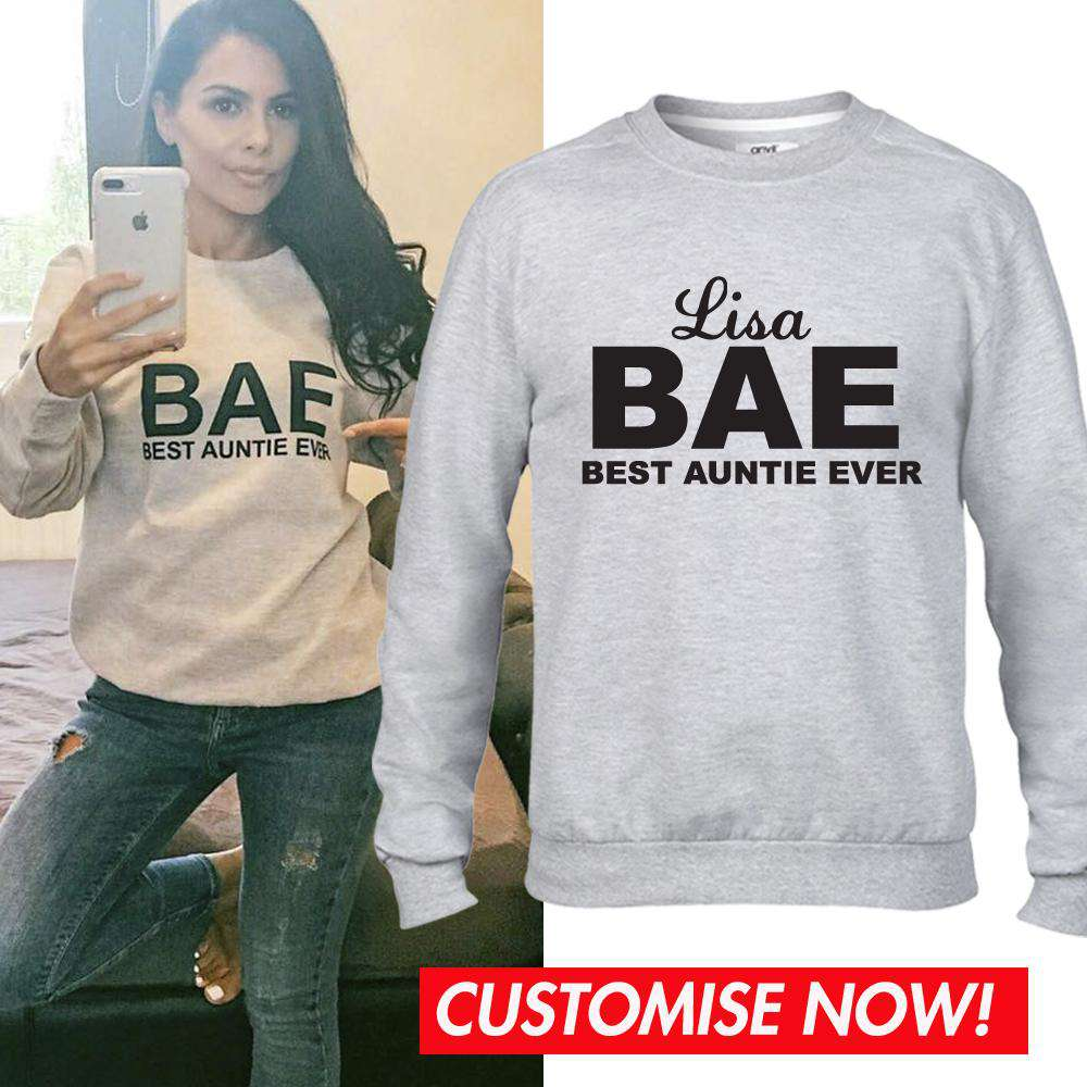Personalised BAE (Best Auntie Ever) Grey Crew Sweater (MRK X)