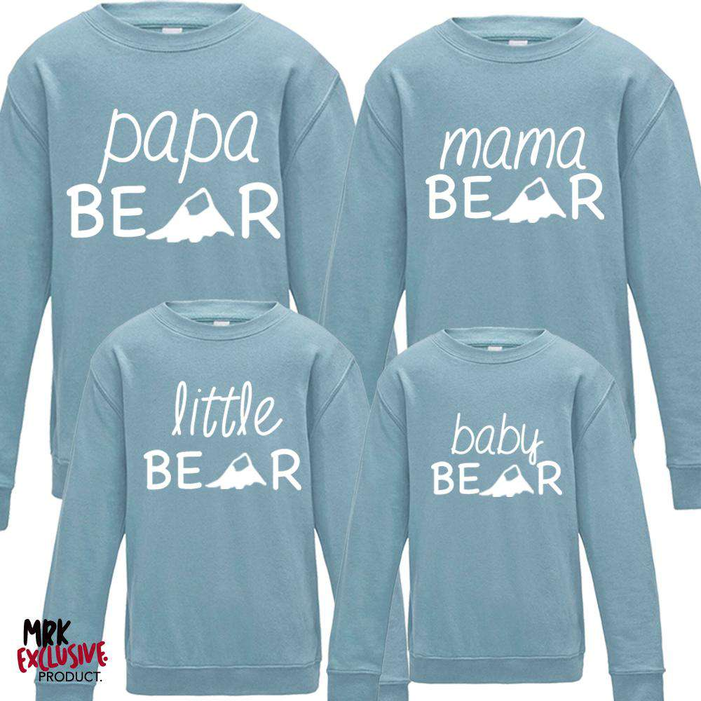 Bear Family Matching Crew Sweats - Pastel Blue (MRK X)