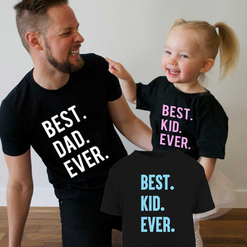 Best Dad Ever Matching Black T-Shirts (MRK X)
