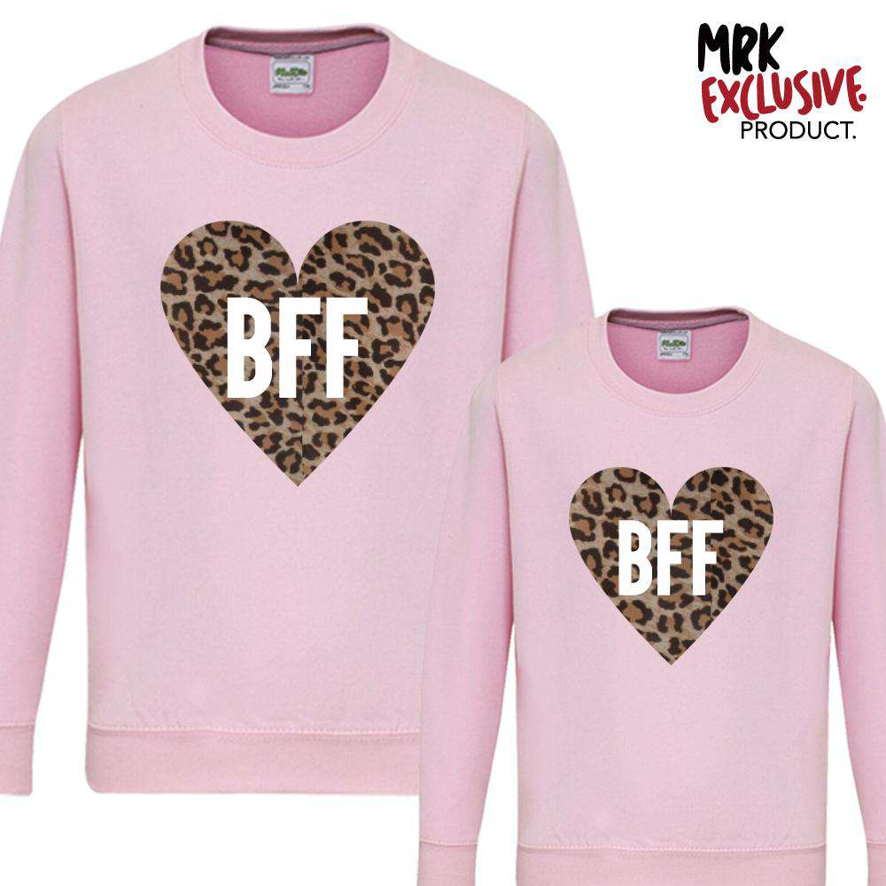 BFF Leopard Heart Light Pink Matching Sweaters (MRK X)