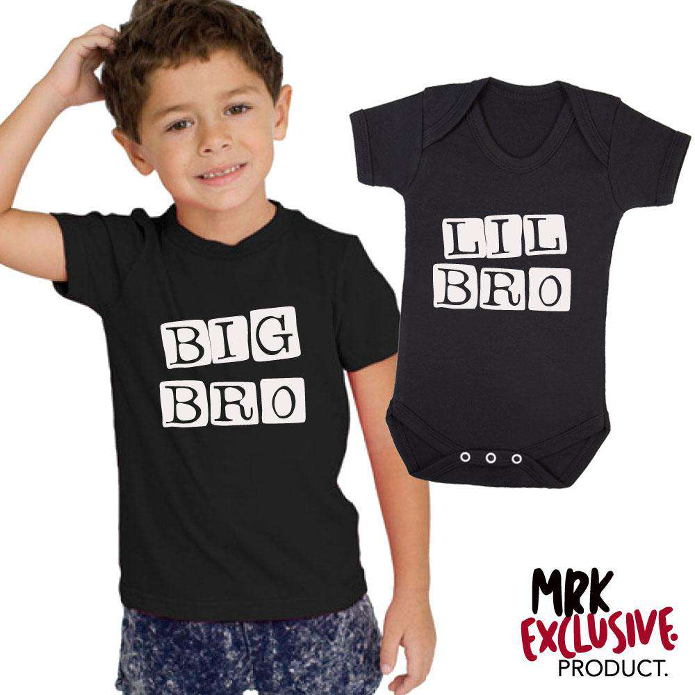 Big Bro/Lil' Bro Stamp Matching Black Tee & Bodysuit (MRK X)