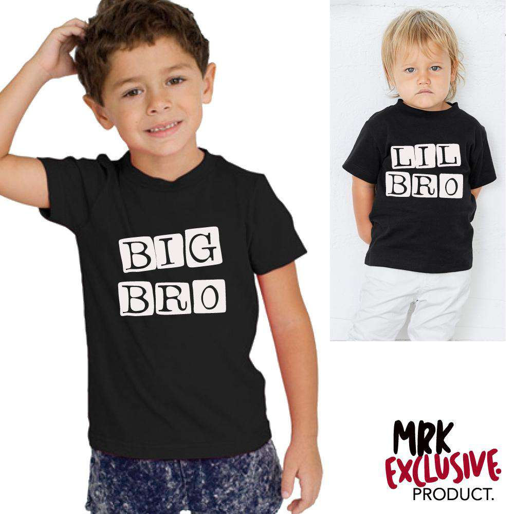 Big Bro/Lil' Bro Stamp Matching Black Tees (MRK X)
