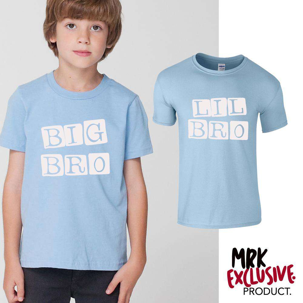 Big Bro/Lil' Bro Stamp Matching Sky Blue Tees (MRK X)
