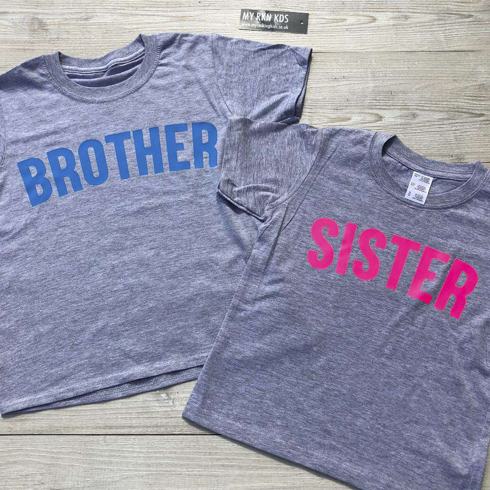 Brother/Sister Grey/Neon Matching Tees (0-13 Years) (MRK X)