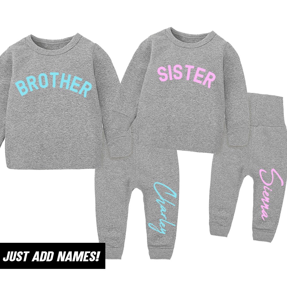 Personalised Brother & Sister Matching Tracksuit Sets-Heather Grey (0-7 Years) (MRK X)