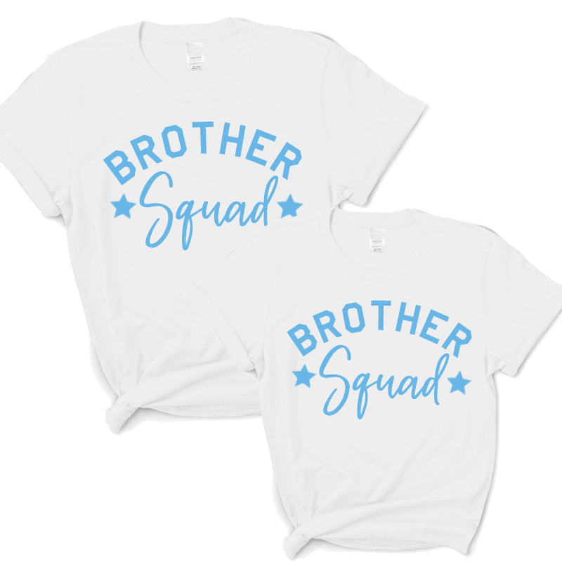 Brother Squad Star T-Shirts White/Sky