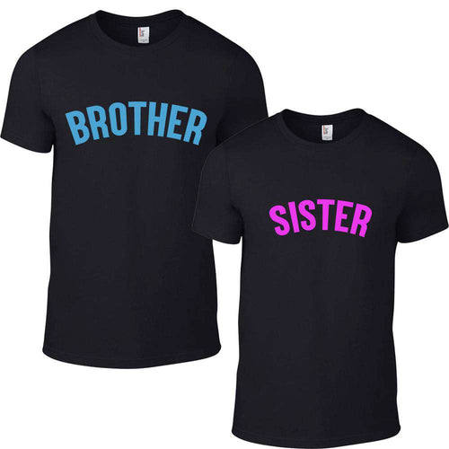 Brother/Sister Black/Neon Matching Tees (0-13 Years) (MRK X)