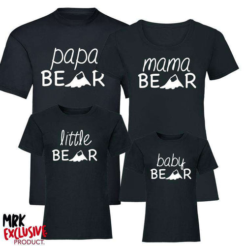 Bear Family Matching T-Shirts - Black (MRK X)