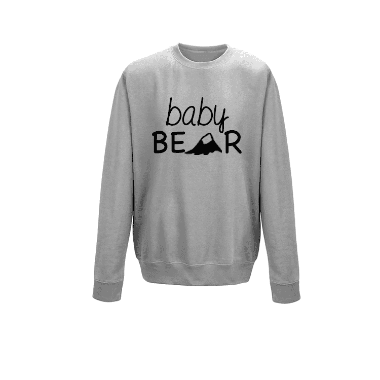Family Matching Grey Bear Crew Sweaters (MRK X)