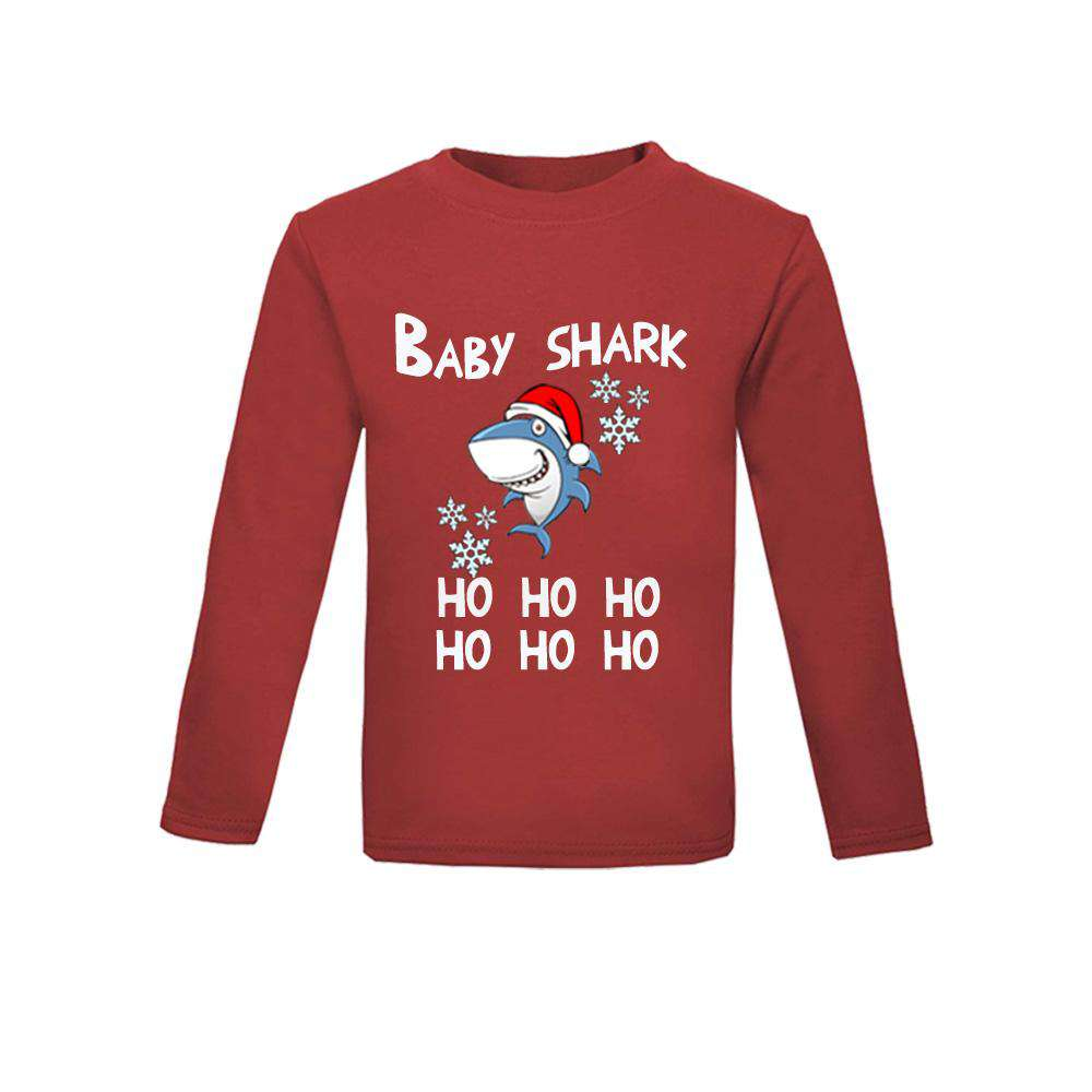 Christmas Shark Family Matching Red Long-Sleeved Pyjama/Casual Tops (MRK X)