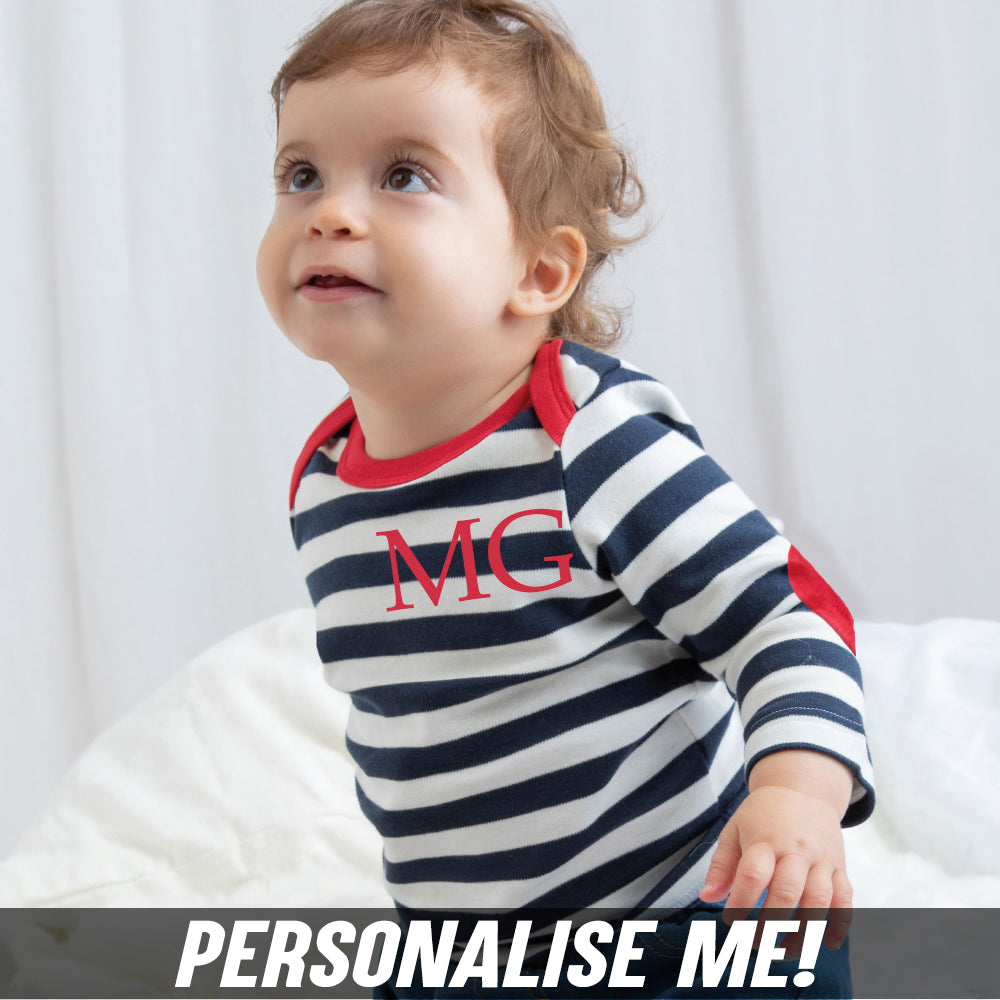 Personalised Baby Initial Striped Patch Top (MRK X)