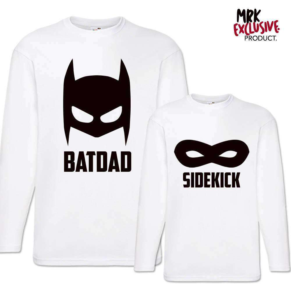 Batdad/Sidekid White Matching Long-Sleeved Tops (MRK X)