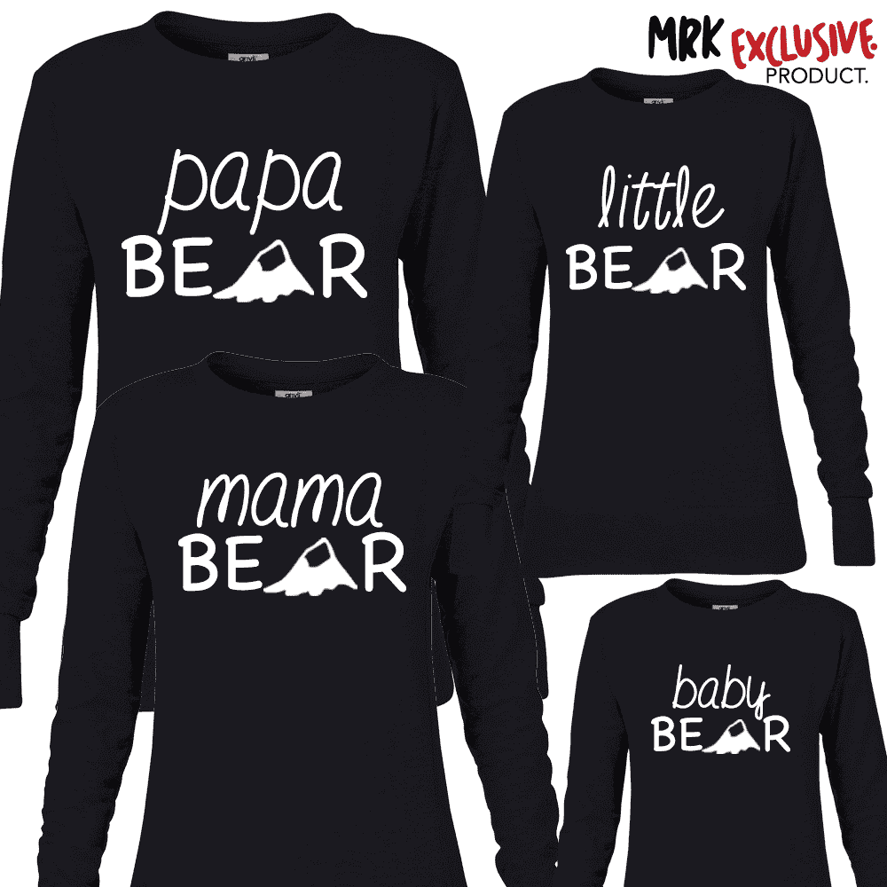 Bear Family Matching Crew Sweats - Black (MRK X)
