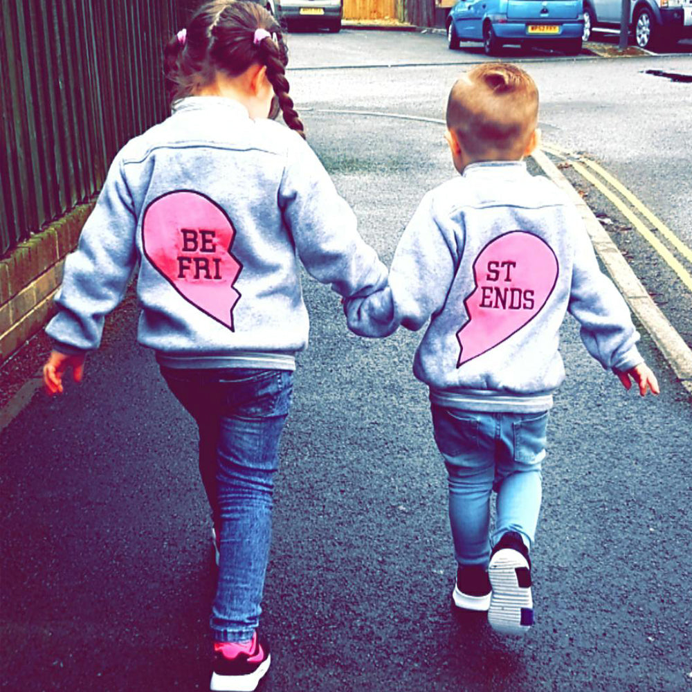 Best Friend Half Heart Kids Matching Baseball Jacket (MRK X)