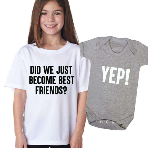 Best Friends, Yep! Matching White & Grey Kids Tee & Bodysuit (MRK X)
