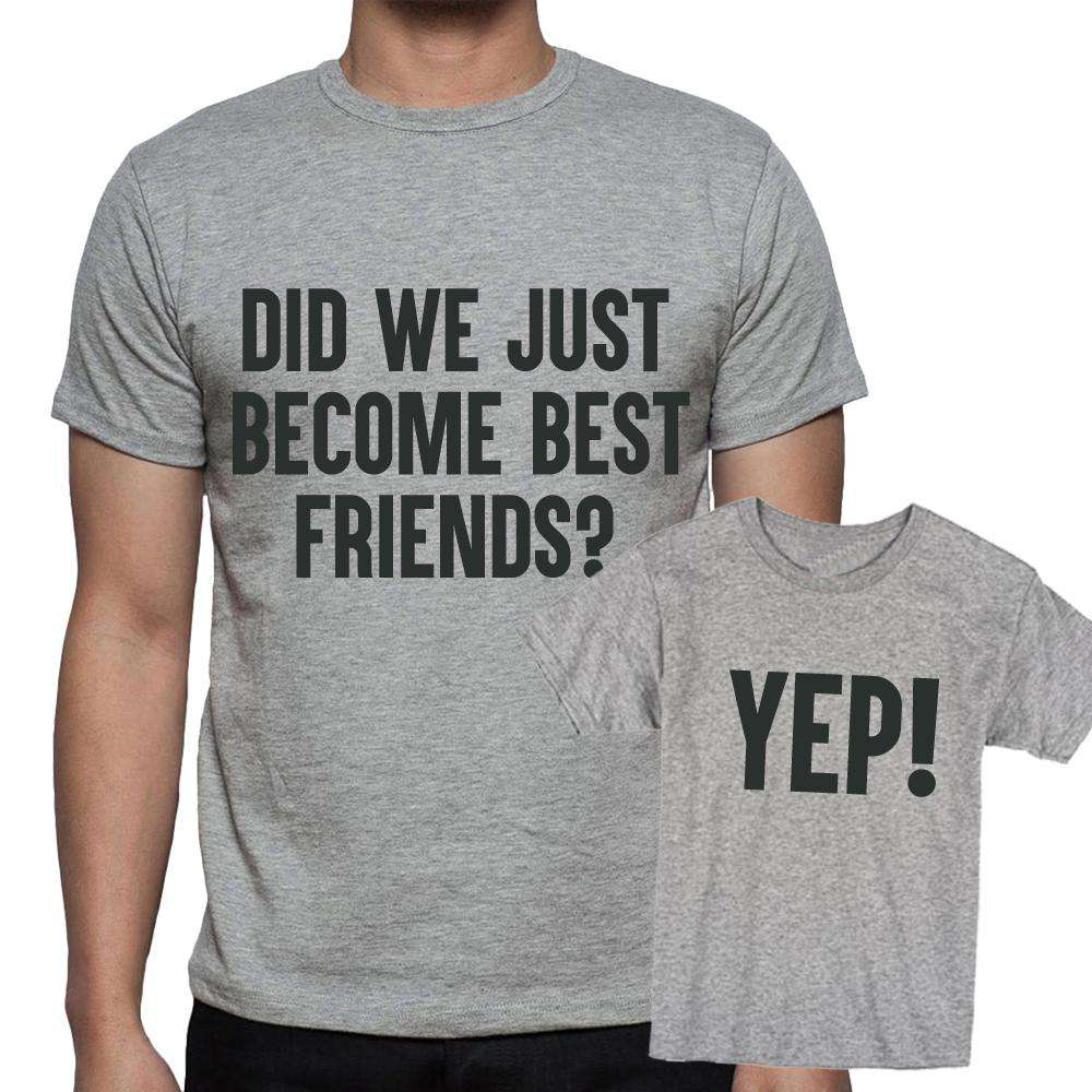 Best Friends, Yep! Adult & Kid Grey Matching Tees (MRK X)