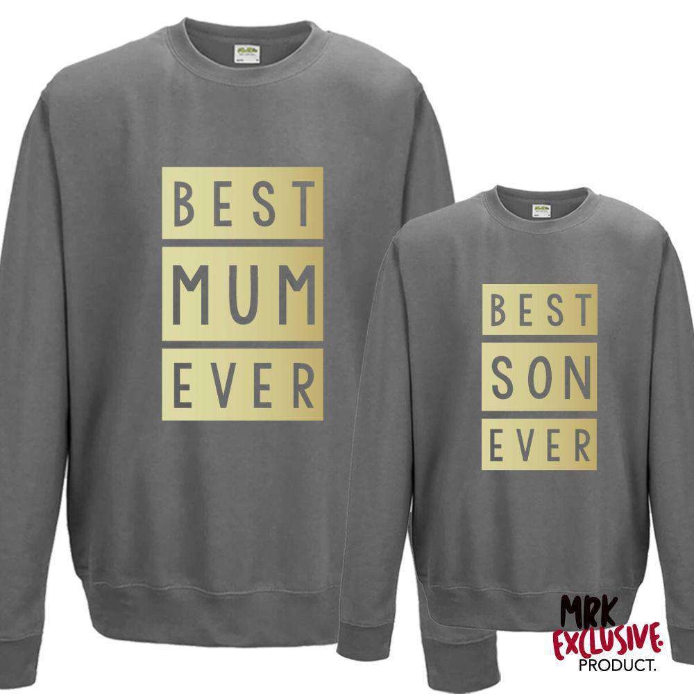 Best Mum & Best Son Matching Steel Grey/Gold Sweaters (MRK X)