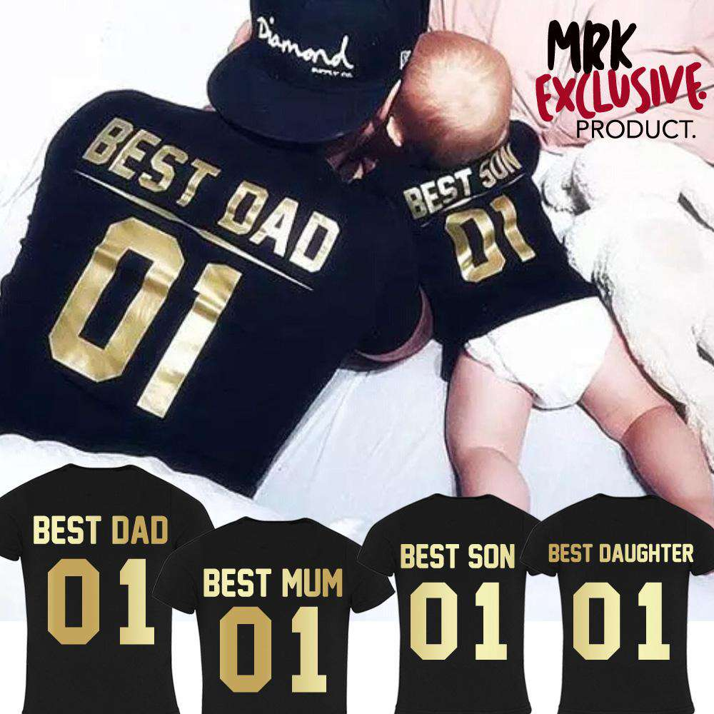 Choose Your Number Best Family Black/Gold Matching Tees (MRK X)