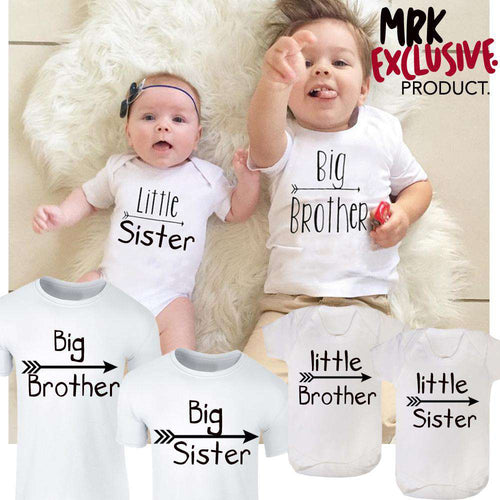 Brothers/Sisters Arrows Tee & Rompers - White - (MRK X)