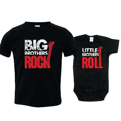 Bro's Rock n' Roll Brother Matching Black Tee & Bodysuits (MRK X)