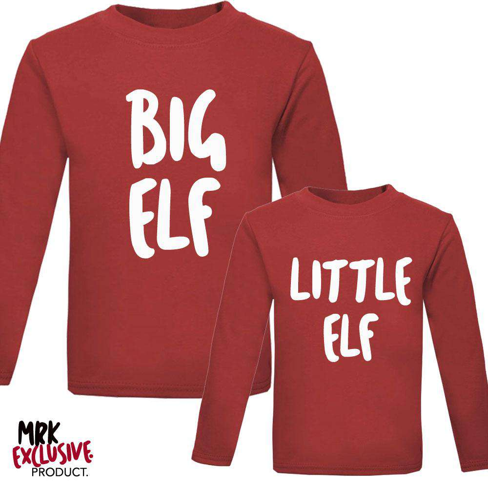 Big Elf & Little Elf Adult & Kid Red Matching Tops (MRK X)
