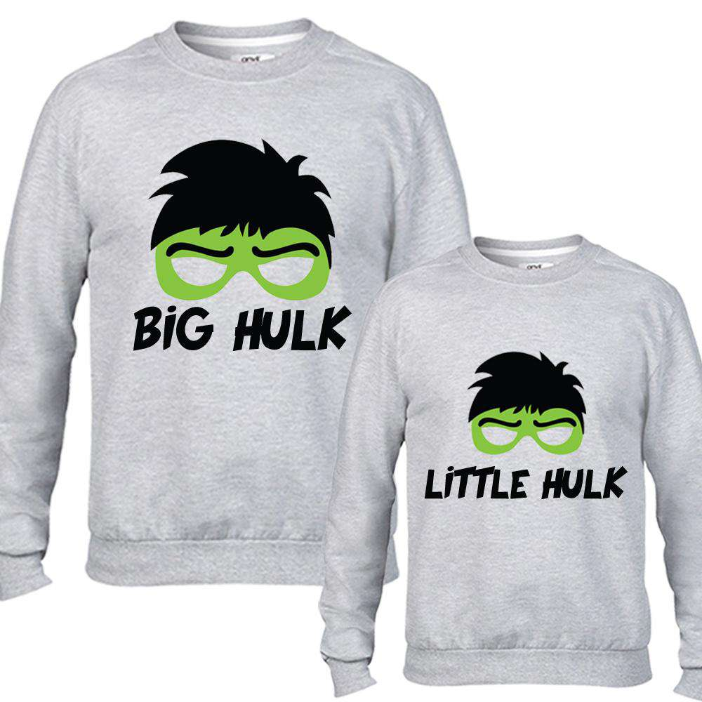 Big Hulk/Little Hulk Dad & Kid Matching Grey Sweaters (MRK X)