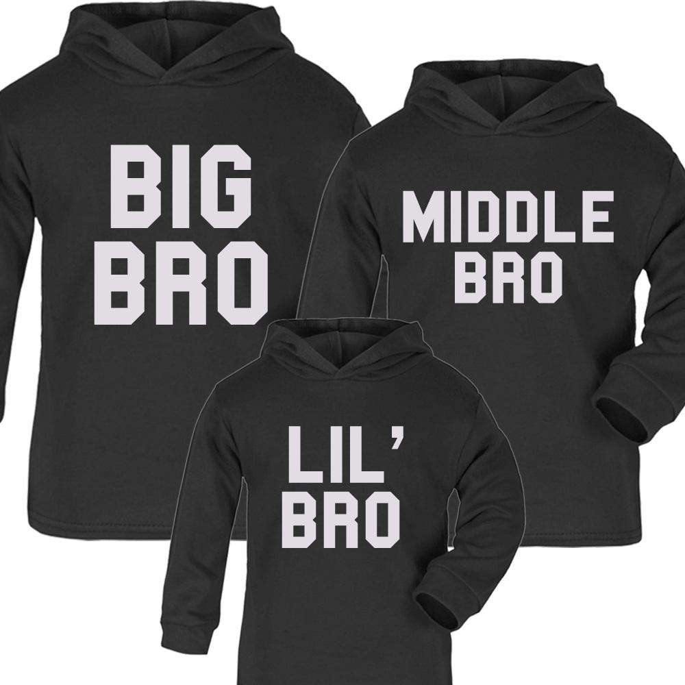 Big, Lil' and Middle Bro Matching Black Hoodies (1-13 Years) (MRK X)