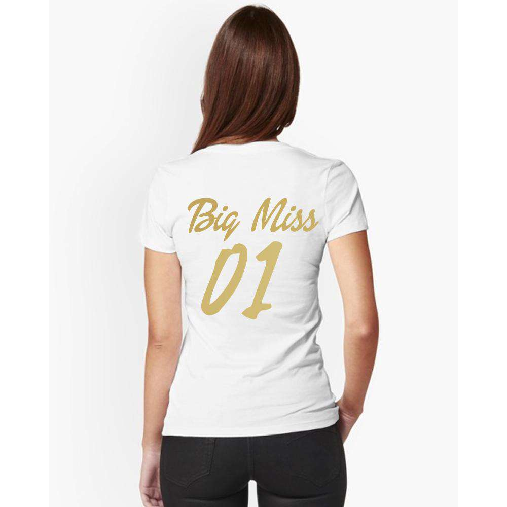 Big Miss/Little Mister Women's & Kid Matching White Tees (MRK X)