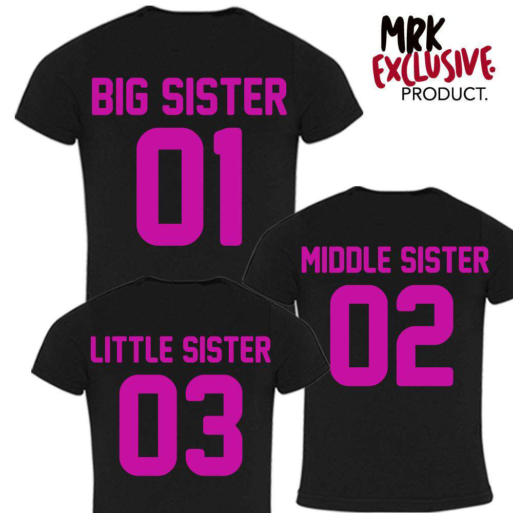 Big Sister/Middle Sister/Little Sister Black/Pink Matching Tees (MRK X)