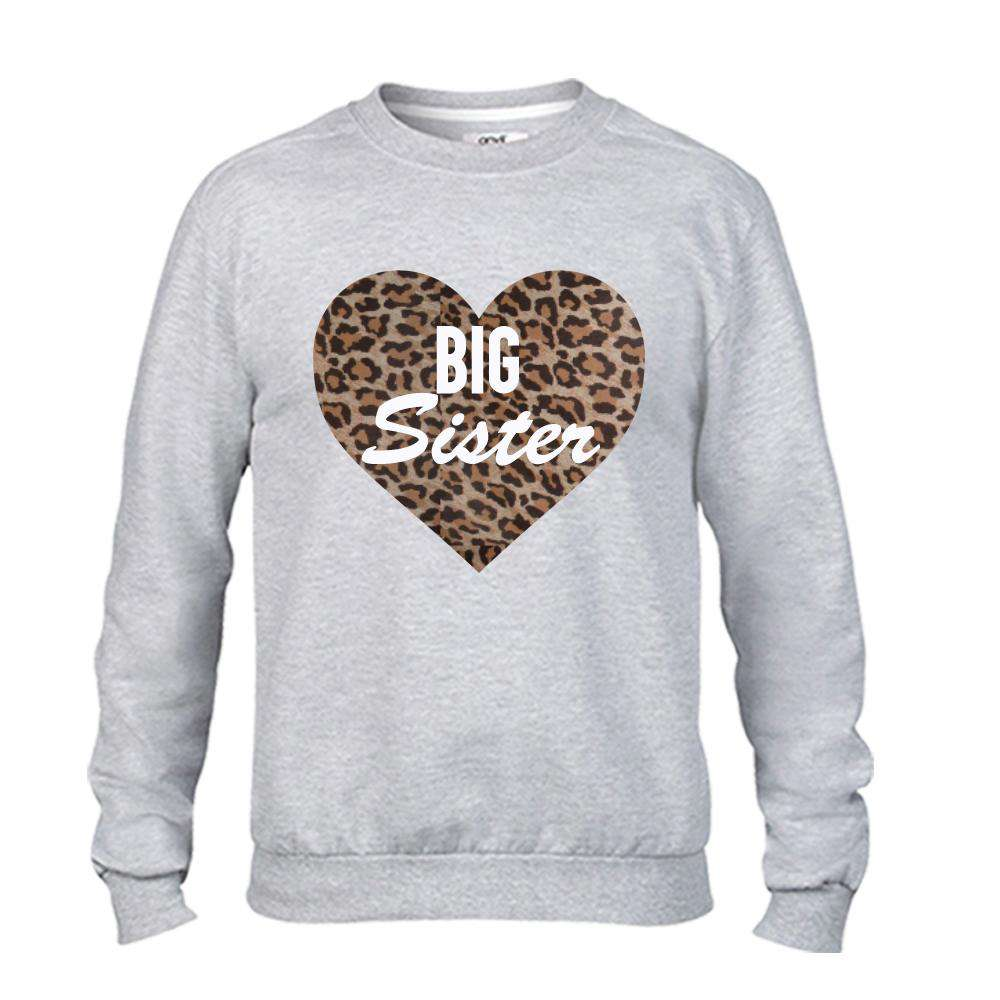 Little Sis/Big Sis Leopard Print Heart Matching Grey Sweaters (MRK X)