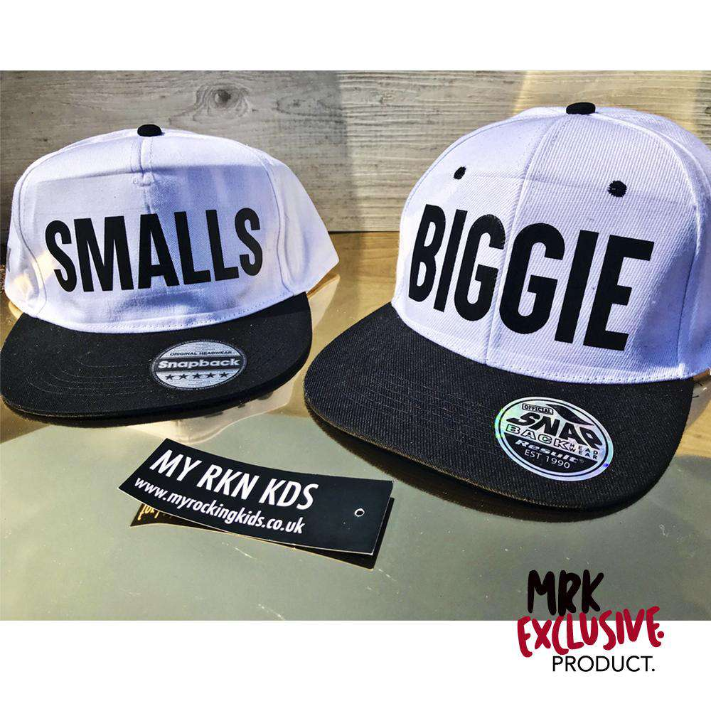 Biggie/Smalls Matching Snapback Caps - WHITE/BLACK  (MRK X)