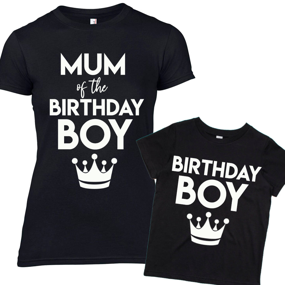 Mum of Birthday Boy Matching Mum & Son Black Tees (MRK X)